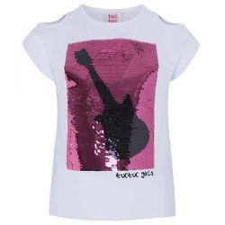 Prévente - Rockabilly - T-shirt blanc à paillettes réversibles
