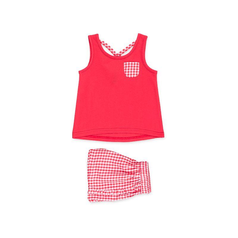 Prévente - Cherry Party - Ens. camisole et short vichy rouge