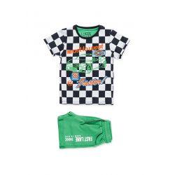Prévente - High Speed - Ens. t-shirt à carreaux et bermuda vert