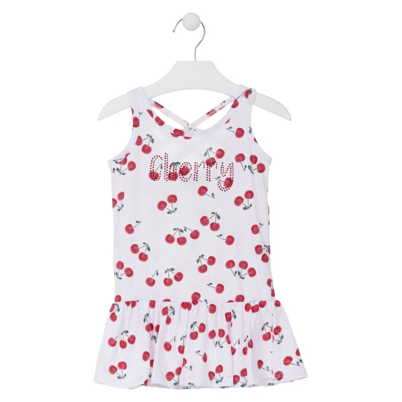 Prévente - Cherry Party - Robe blanche imprimé cerises