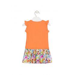 Prévente - Tropical Colors - Robe orange avec jupe imprimée