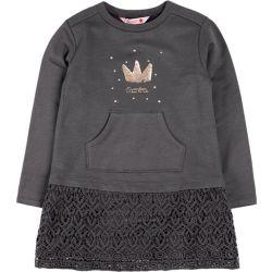 Prévente -Gold Crown - Robe en molleton gris storm avec jupe en dentelle