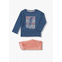 Prévente - Pink Winter - Ens. T-shirt bleu et legging en velours vieux rose