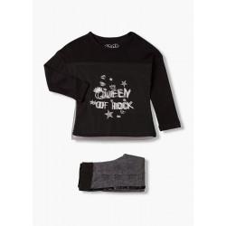 Rock - Ens. T-shirt noir et...