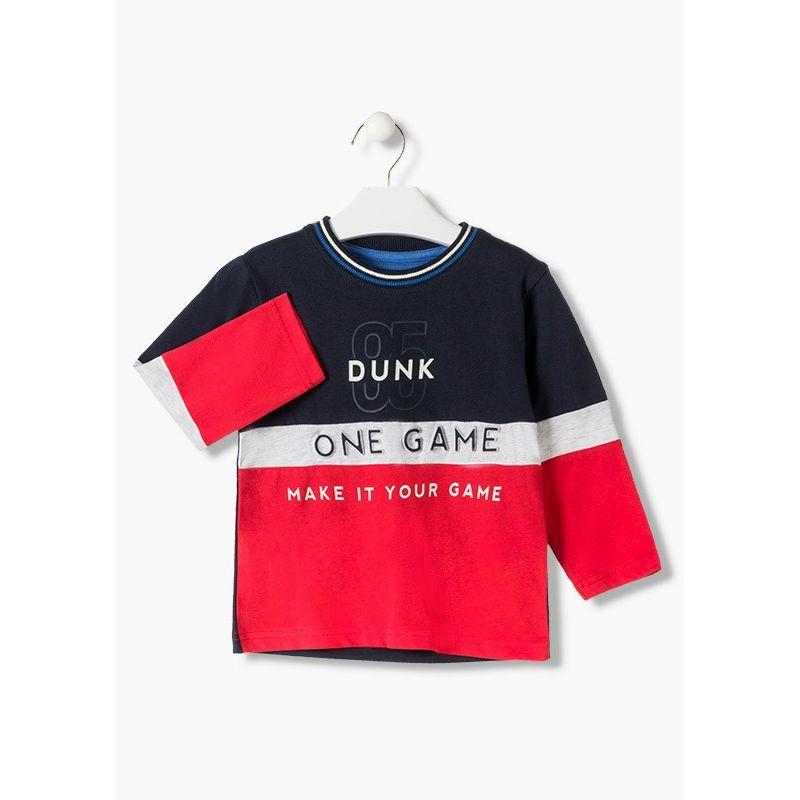 Prévente - College - T-shirt marine et rouge