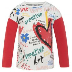 creative - T-shirt imprimé à manches rouges