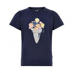 Prévente - Metoo - T-shirt dress blue appliqué fleurs
