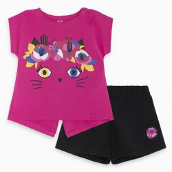 Prévente - Pink Pink Cat - Ens. T-shirt fuschia et short noir