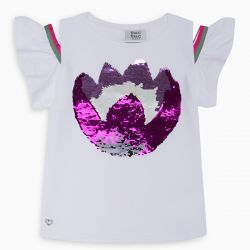 Prévente -  Samba - T-shirt blanc avec paillettes réversibles