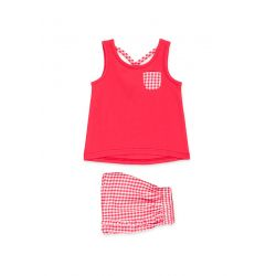 Prévente - Cherry Party - Ens. camisole et short vichy rouge