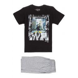 Prévente - Ens. t-shirt noir et bermuda