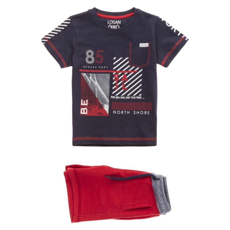 Prévente - Sails - Ensemble t-shirt marine et bermuda rouge