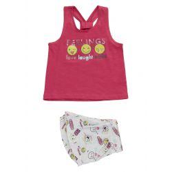 Prévente - Smile - ens. camisole fraise et short imprimé
