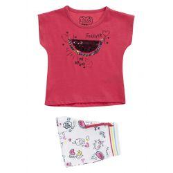 Prévente - Happy Sun - Ens. T-shirt et short rose fraise