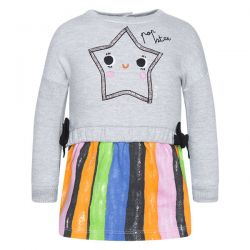 Prévente - Play Radio - Robe gris chiné avec jupe rayée