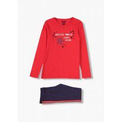 Prévente - Collège - Ens. T-shirt rouge et legging marine avec bande latérale