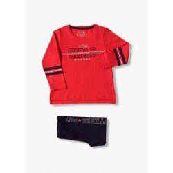 Prévente - College - Ens. T-shirt rouge et legging marine
