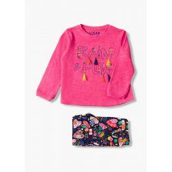 Prévente - Colorful - Ens. T-shirt fuschia foncé et pantalon en molleton imprimé