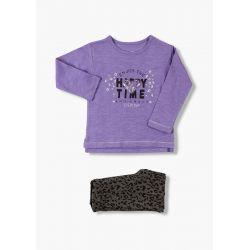 Prévente - Animal Print - Ens. T-shirt lilas et legging jacquard