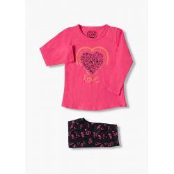Prévente - Good Vibes - Ens. T-shirt fuschia et leggings marine imprimé