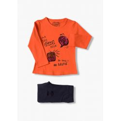 Prévente - Good Vibes - Ens. T-shirt orange et legging marine en molleton