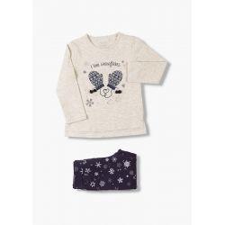Prévente - Snowflake - Ens. T-shirt écru et legging marine