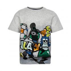 Prévente - Metoo - T-shirt gris chiné imprimé soccer