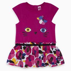 Prévente - Pink Pink Cat - Robe fuschia avec jupe imprimée