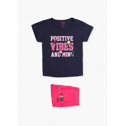 Prévente - Happy Days - Ens. T-shirt marine et short fraise