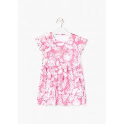 Prévente - Robe rose imprimé tropical