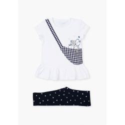 Prévente - Sweet Navy -  Ens. T-shirt blanc et legging marine