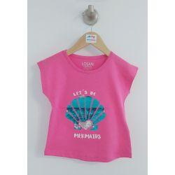 T-shirt fuschia avec paillettes réversibles