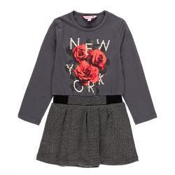 Prévente - N.Y. - Robe anthracite avec jupe herringbone