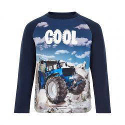 T-shirt dress blue avec imprimé tracteur