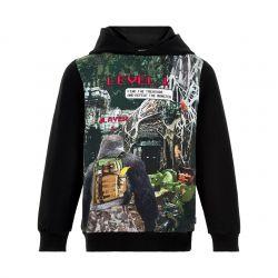 Sweatshirt noir avec imprimé jeux vidéo
