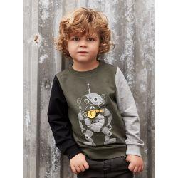 Sweatshirt olive imprimé singe-robot
