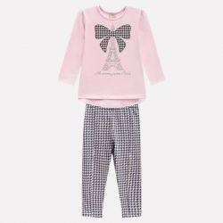 Prévente - Milon - Ens. Pantalon en pied-de-poule et t-shirt rose crème et gris