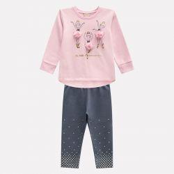 Prévente - Milon - Ens. Legging gris et sweatshirt rose-crème