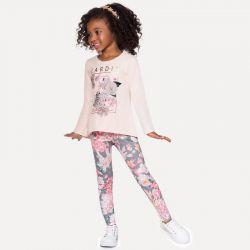 Prévente - Milon - Ens. Legging imprimé et t-shirt rose suave