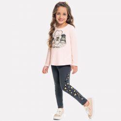 Prévente - Milon - Ens. Legging gris et t-shirt rose suabe imprimé souliers