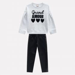 Prévente - Milon - Ens. Legging noir et sweatshirt gris clair