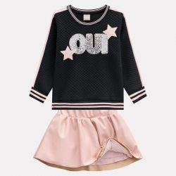 Prévente - Milon - Ens. Jupe en éco-cuir rose et t-shirt noir avec paillettes