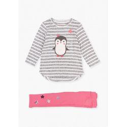 Prévente - Snow - Ens. T-shirt pingouin et pantalon en molleton groseille