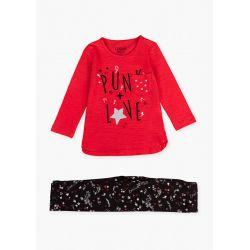 Prévente - Punk Style - Ens. T-shirt rouge et legging noir imprimé