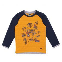 T-shirt jaune à manches raglan