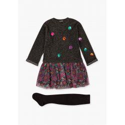 Prévente - Folk Swag - Ens. Robe à effet de tricot côtelé et jupe en tulle et collant
