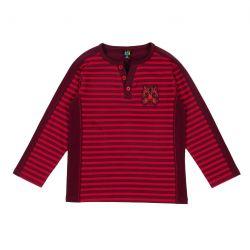 t-shirt henley rayé noir et rouge