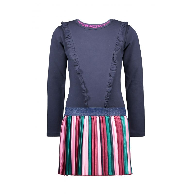 B.Fantastic - Robe bleu oxford avec jupe en satin à rayures verticales