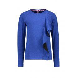 Prévente - B.Smart - T-shirt cobalt avec frisons verticaux
