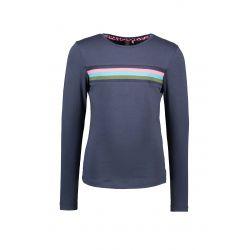 B.Flawless - T-shirt bleu oxford avec côtelé rayé